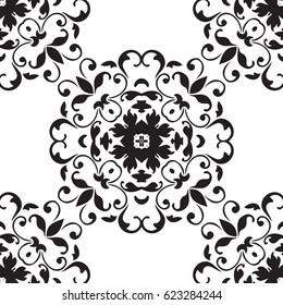 Black and white damask background tile design