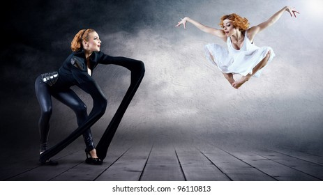 Black and White Dancers in posing on background (on image one person).