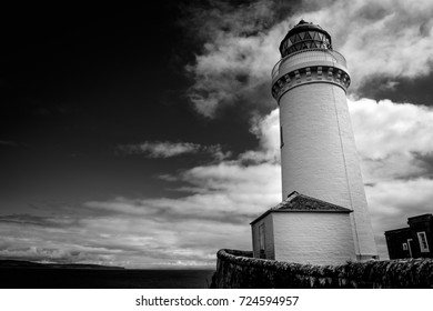 Black and white Davaar Island Lighthouse, Campbeltown, Kintyre Peninsula, Scotland