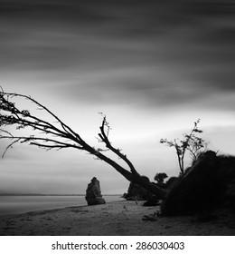 black & white daytime long exposure rocky seascape scene with stones and water. Black sea, Odessa, Ukraine