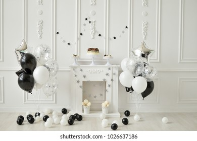 Black And White Decorations Decoration For Birthday Party A Lot Of Balloons