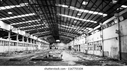 black and white deserted factory after bankruptcy