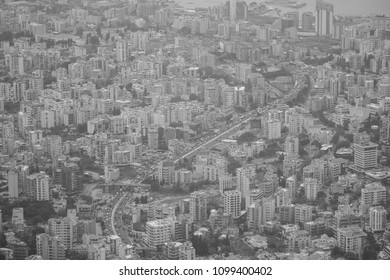 Black and white from the development from above, Jounieh, Lebanon, Middle East