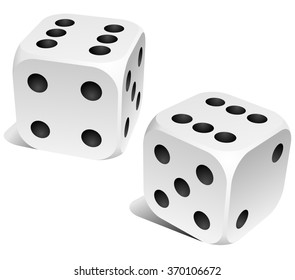 Black and white dice with double six roll.