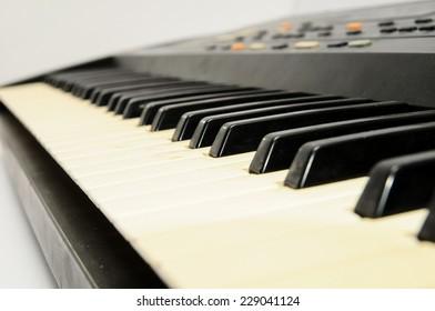 Black and White Digital Piano keyboard closeup