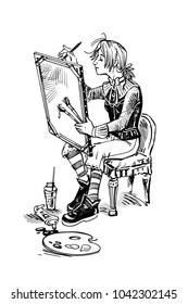 black and white drawing of a girl painter drawing a picture