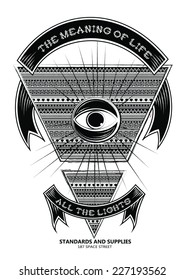 black and white ethnic graphical all-seeing eye print with text