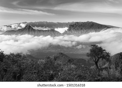 Black and white evening view over the mountains of La Palma with the Caldera de Taburiente in the background. Seen from the way to the volcano Birigoyo.