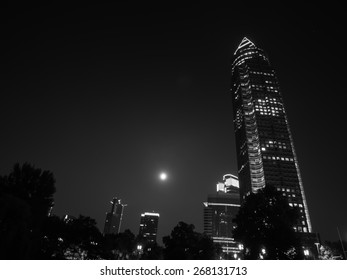 Black and white: The exhibition site and full moon in Frankfurt, Germany
