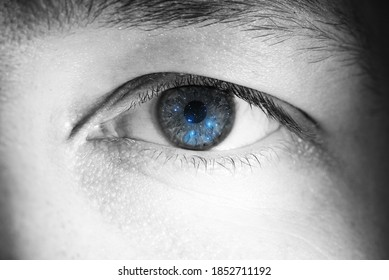 Black and white eye with reflection of stars (pleiades)