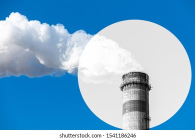 Black and white factory chimney in vignette emits smoke on a blue background. The concept of air pollution, environment, industry and ecology, global warming.