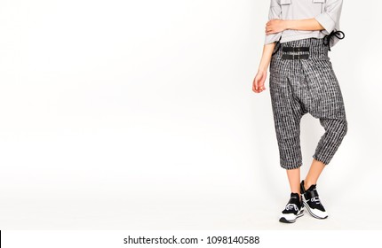 black and white fashion, no people, snickers and harem pants, fashion model posing
