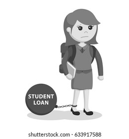 black and white female student chained with student loan black and white style