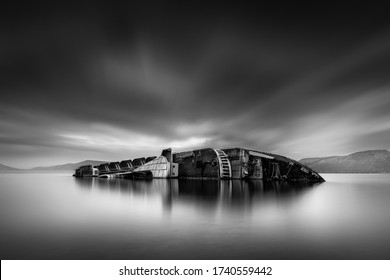 Black and White, Fine Art, Long Exposure Seascape with shipwreck Mediterranean Sky, at Elefsis Bay, Greece