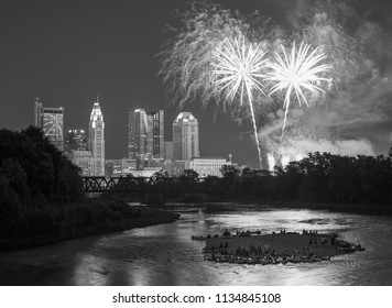 Black and white fireworks image over downtown Columbus