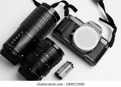 Black and White flat lay film camera, photography gear, 35mm film camera, vintage camera