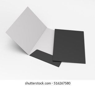 black and white folders with two leaf on light background. 3D rendering