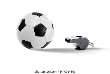 Black White football in leather and whistle isolated