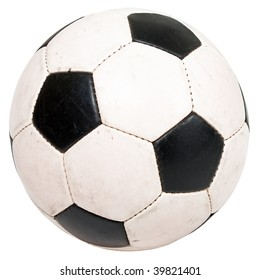 Black white football or soccer sport ball isolated