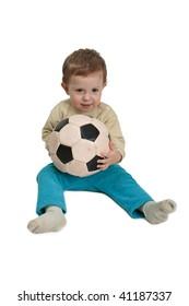 Black white football or soccer sport ball in hand