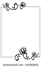 Black and white frame with flowers silhouettes. Raster clip art.
