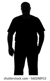 black and white full-length silhouette of a man with a dense constitution isolated on white background