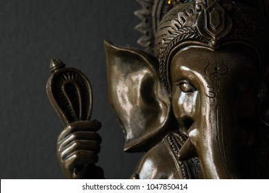 Black and white of Ganesh Elephant god statue. Lord of Success