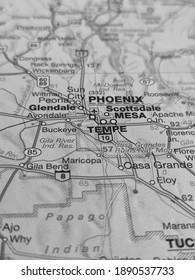 Black and White geography concept, macro closeup road map of Phoenix, Arizona and its surroundings.