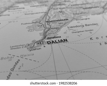 Black and white geography concept, macro closeup road map of Dalian, China