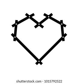 Black and white geometric heart