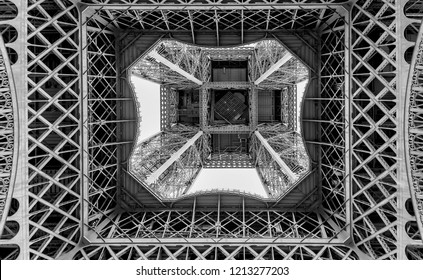 Black and white graphic image of the Eiffel Tower seen from below, Paris, France
