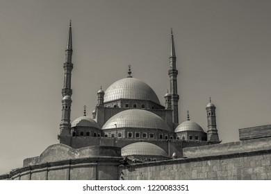 The black and white of great Mosque of Muhammad Ali Pasha (Alabaster Mosque), situated in the Citadel of Cairo, Egypt.