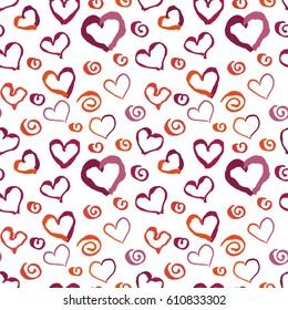 Black and white grunge hearts print seamless pattern, raster background