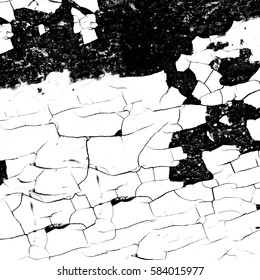 Black and white grunge texture. Cracked paint