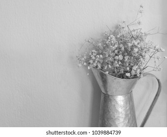 black and white gypsophila flower for background with copy space. vintage flower background.
