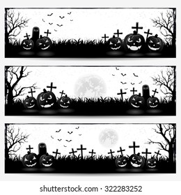 Black and white Halloween banners with pumpkins on graveyard, illustration.