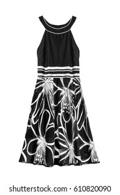 ad90eefb038 Black and white halter dress isolated over white