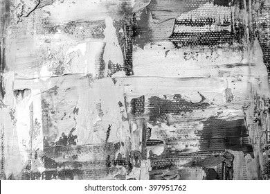 Black and white hand drawn oil texture. Brushstrokes on canvas. Abstract art. Grunge background. Oil painting on canvas. Fragment of artwork. Spots of paint. Modern art. Contemporary art.