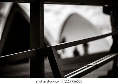 Black and White of a hand rail in Sydney