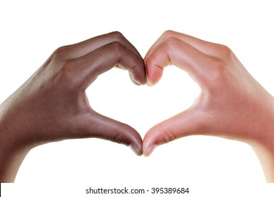 Black and white hands in the form of heart isolated on white background, Multi ethnic