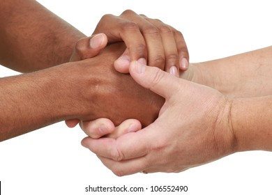 Black and white hands in a friendly hand shake