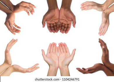 Black and white hands holding or offering something, isolated on white background. Open palms of multiethnic men, handful gesture. Set of hands.
