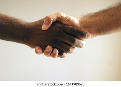 Black and white hands in modern handshake to show each other friendship and respect - Helping and respecting each other against racism - Slightly crispy detailed filtered look on defocused background
