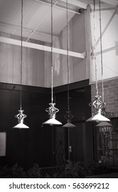 Black and white hanging lamps