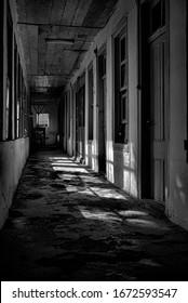 black and white historic corridor