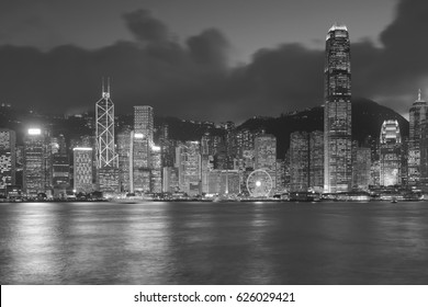 Black and White, Hong Kong city business downtown seafront, cityscape background