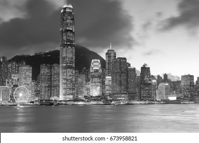Black and White, Hong Kong city central business downtown sea front night view