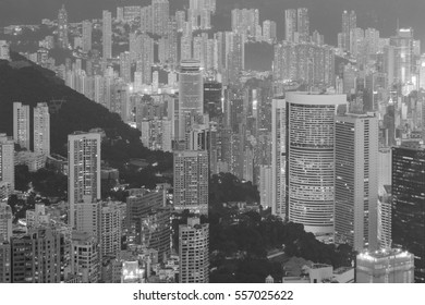 Black and White, Hong Kong residence building over the mountain