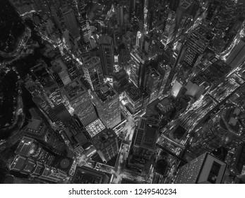 Black and White Hong Kong skyline