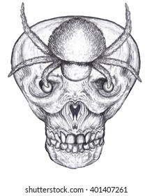 Black and white human skull with